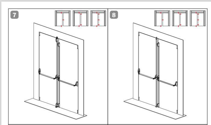 Barra antipânico dupla para porta de vidro